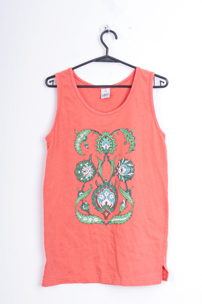 Etirel Womens M Shirt Blouse Flowers Orange Cotton Sleeveless - RetrospectClothes