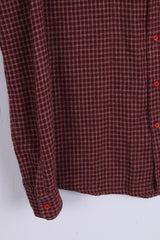 Manuel Ritz Pipo Mens 14.5 S Casual Shirt Burgundy Cotton Check Long Sleeve