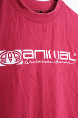Animal Womens XS (Youth 13-14) T-Shirt Red Cotton Summer - RetrospectClothes