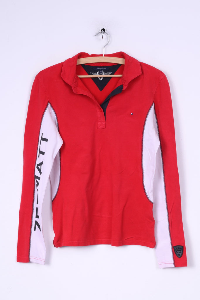 Tommy Hilfiger Womens 40 L Polo Shirt Long Sleeve Red Cotton Best Of The Alps
