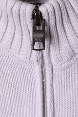 Shott NYC Mens L Sweater Beige Zip Up Cardigan 100% Cotton Knitwear