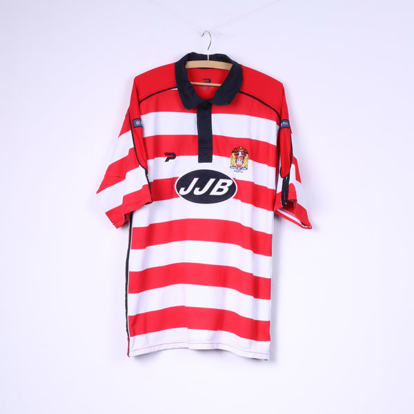 Patrick Wigan Warriors Mens XXL Polo Shirt Red Striped Rugby Jersey