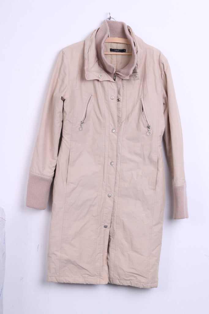 VILA Clothes Womens S Nylon Jacket Coat Beige Long Single Breasted - RetrospectClothes