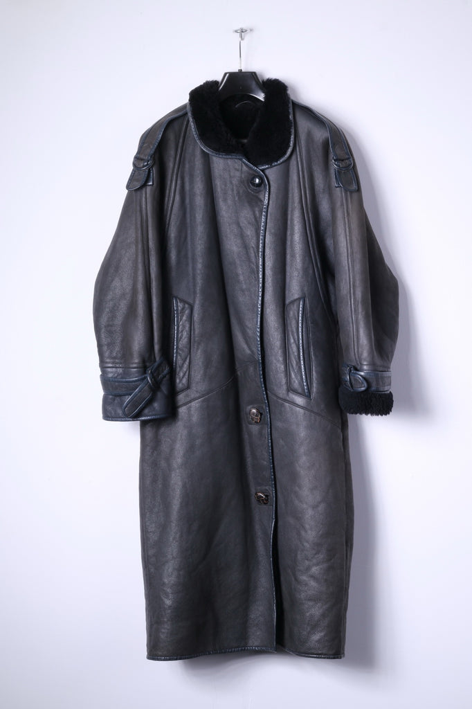 Vintage Womens 10 36 M Heavy Coat Brown Leather Fur Lined Siberian Long Top