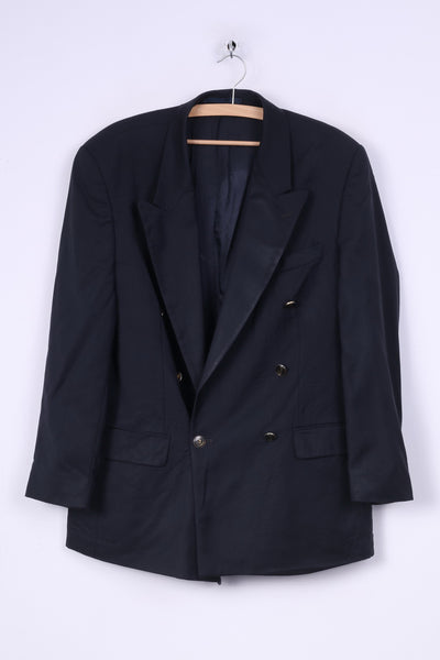 Pierre Cardin Mens 40 S Blazer Jacket Navy Classic Collection Double Breasted Wool