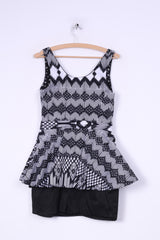 River Island Womens 12 38 S Dress Mini Pencil Peplum Black White Sleeveless Cotton