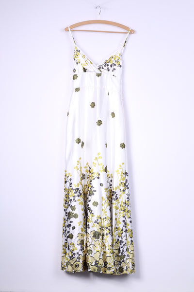 DONNA by Halolhuber Womens 36 S Maxi Dress White Shiny Floral Print Long Sexi