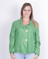 Biba Womens 44 M/L Top Suit Green Buttons Down Cotton - RetrospectClothes