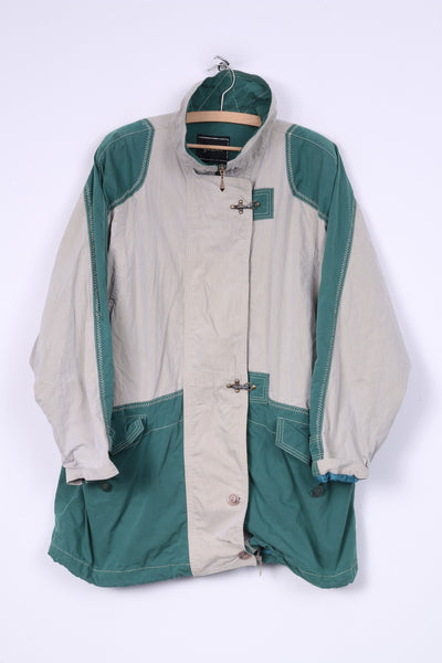 Gil Bret Womens 16 XL Long Jacket Lightweight Cotton Nylon Full Zipper Beige/Green Shoulder Pads Vintage
