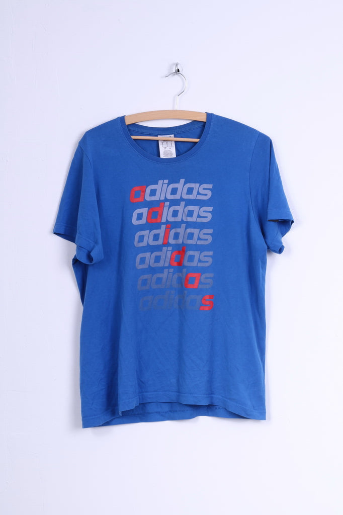 Adidas Mens S T-Shirt Blue Cotton Crew Neck Graphic Shirt