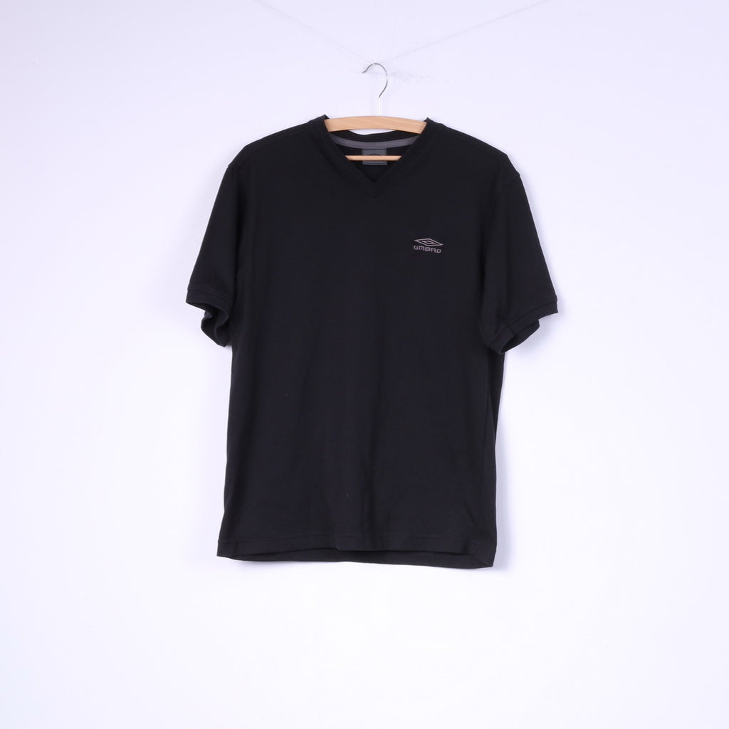 Umbro Mens M T-Shirt Black Cotton Blend V Neck Plain Fit Top