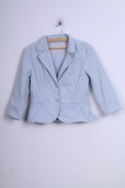 Veronika Maine Womens 10 M Blazer Jacket Single Breasted Blue 3/4 Sleeves Striped Cotton