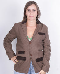 Soulstar Womens M Top Suit Brown England Buttons Down Collar - RetrospectClothes