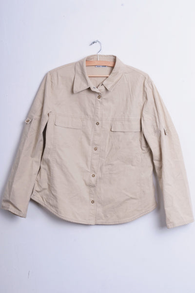 Gerry Weber Womens 38 M Casual Shirt Outdoor Cotton Top Beige - RetrospectClothes