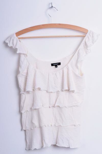 Express Womens S Flounce Blouse Top Cream Sleeveless Cotton - RetrospectClothes