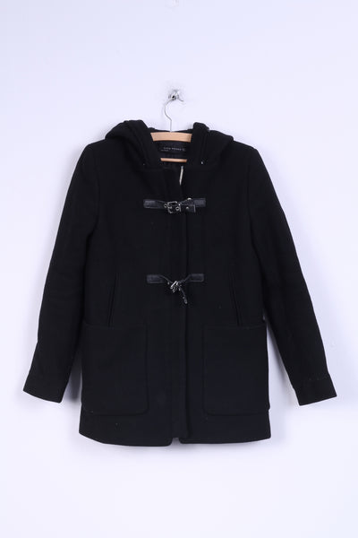 ZARA Womans S Jacket Hood Black Single Breasted