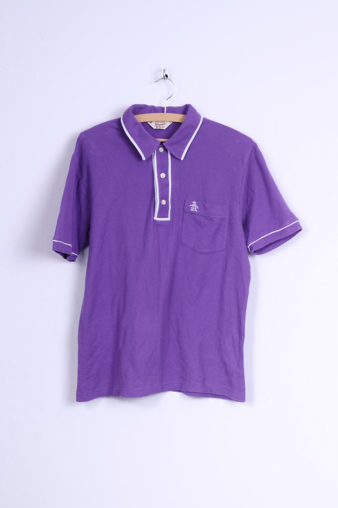 Penguin Mens M Polo Shirt Purple Cotton Slim Fit Stretch Top