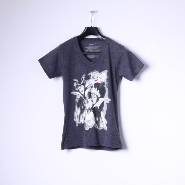 Disney Store Womens S T-Shirt Grey Cotton Graphic Black Characters Top