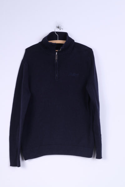 Pepe Jeans London Womens XL Jumper Zip Neck Sweater Navy Cotton
