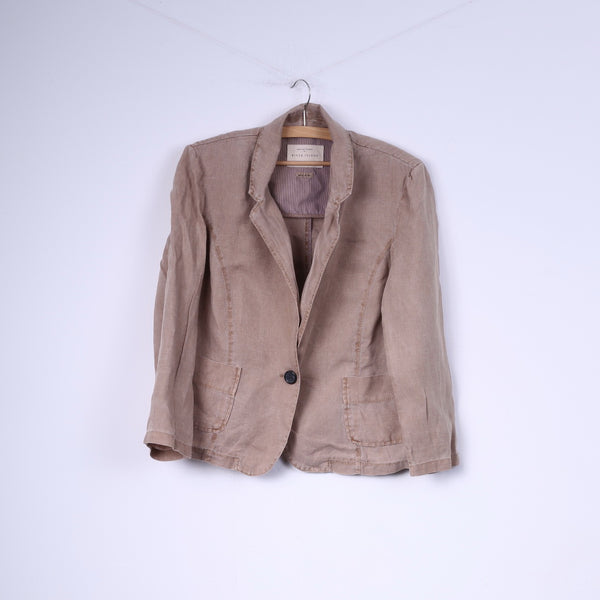 River Island Womens 14 40 L Blazer Linen Beige Single Breasted Top Shoulder Pads