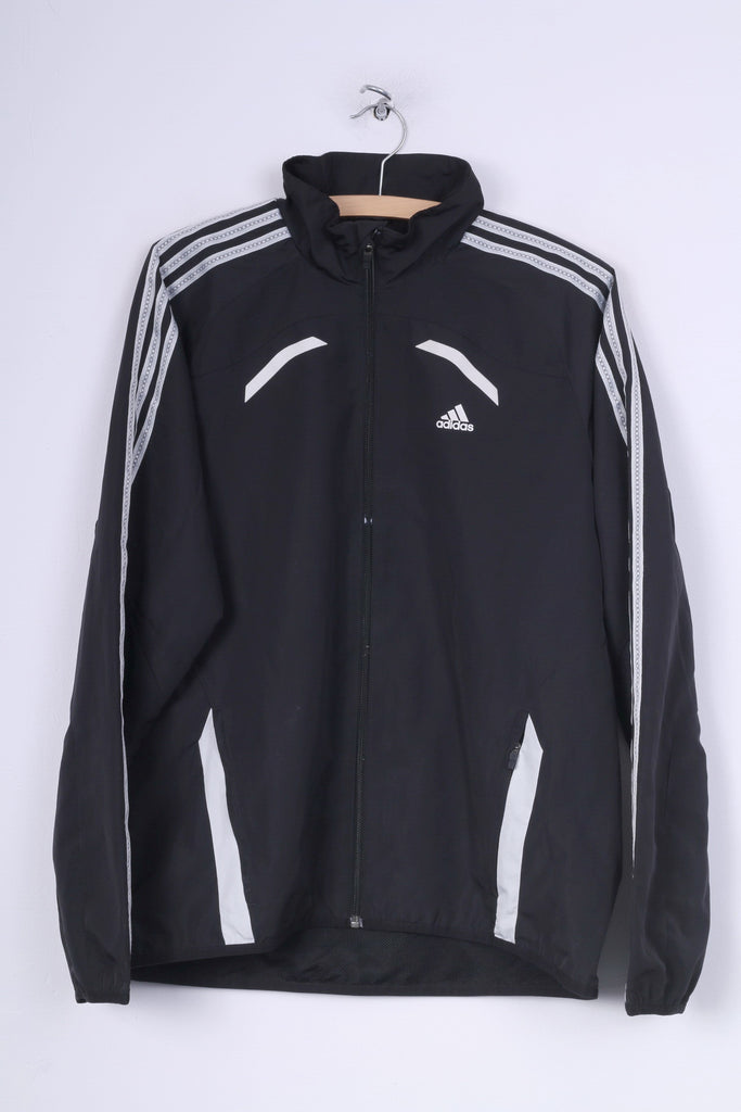 Adidas Boys 178 Jacket Lightweight Black Full Zipper Sportswear Clima Cool