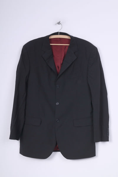 Jaeger Mens 54 L Blazer Jacket Black Single Breasted Wool Sholuder Pads