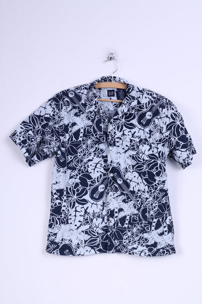 GAP Boys L Casual Shirt Navy Cotton Flowers Print Short Sleeve