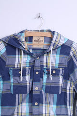 Hollister Mens S Casual Shirt Cotton Blue Checkered Hooded Long Sleeve