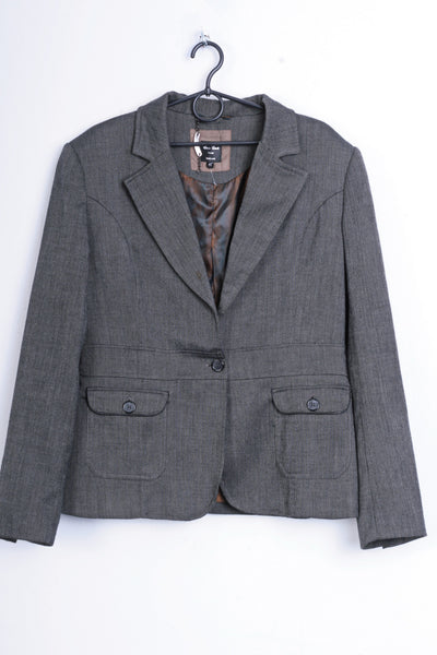Emilio Corali Womens 42 L Jacket Grey Blazer Milano Single Breasted - RetrospectClothes