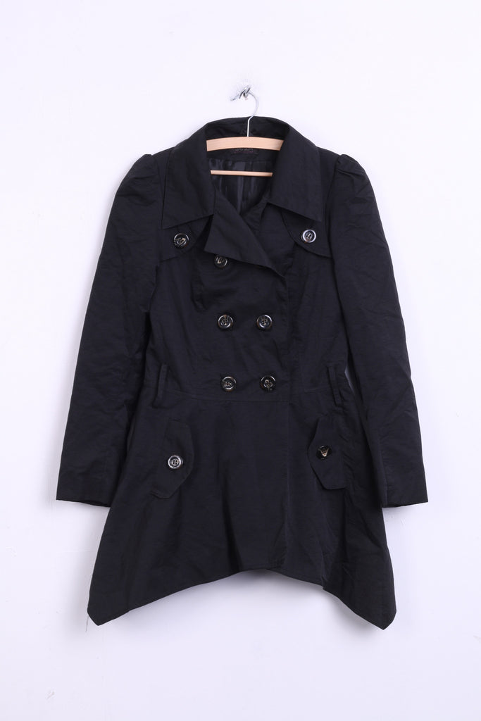 SAVIDA Womens 38 M Coat Trench Double Breasted Black Cotton Nylon - RetrospectClothes