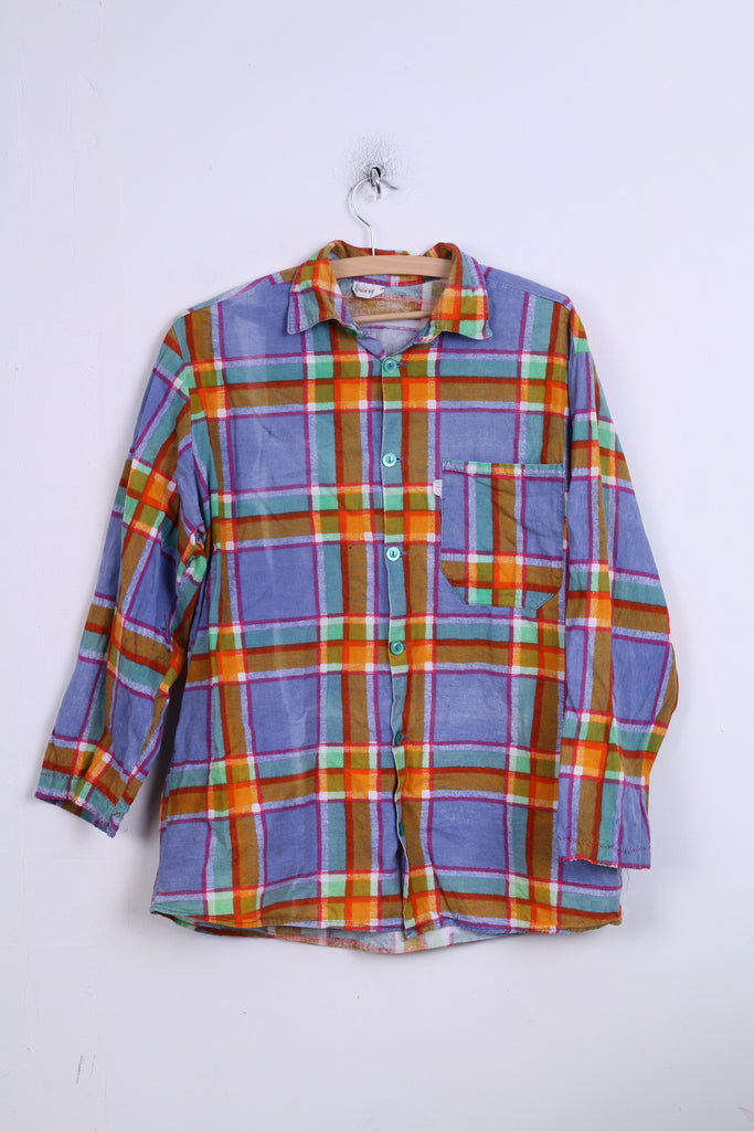 Lora Mens 42 176-182 Casual Shirt Check Blue Orange