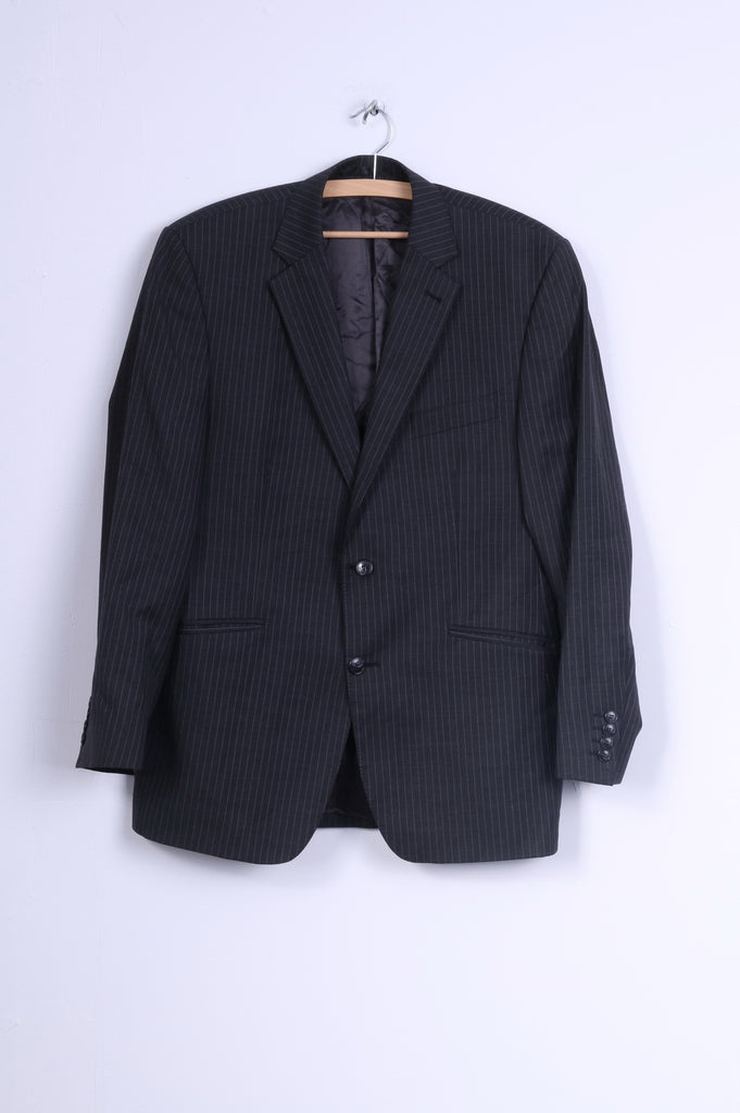 Racing Green Mens 50 M Blazer Wool Charcoal Striped Single Breasted Jacket