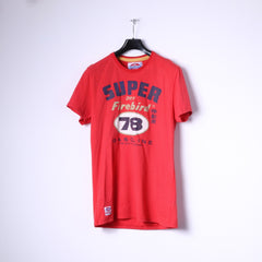 Superdry Mens L T-Shirt Red Cotton Motor Oil Graphic Gasoline Slim Fit Top