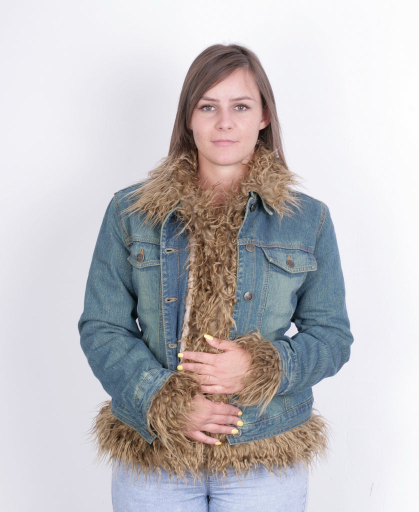 New Outline Women M Jacket Jeans Denim Fur Boho Vintage - RetrospectClothes