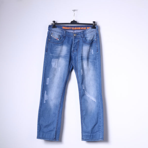 Diesel Industry Mens 33 Trousers Blue Jeans Faded Styled in Italy Denim Pants