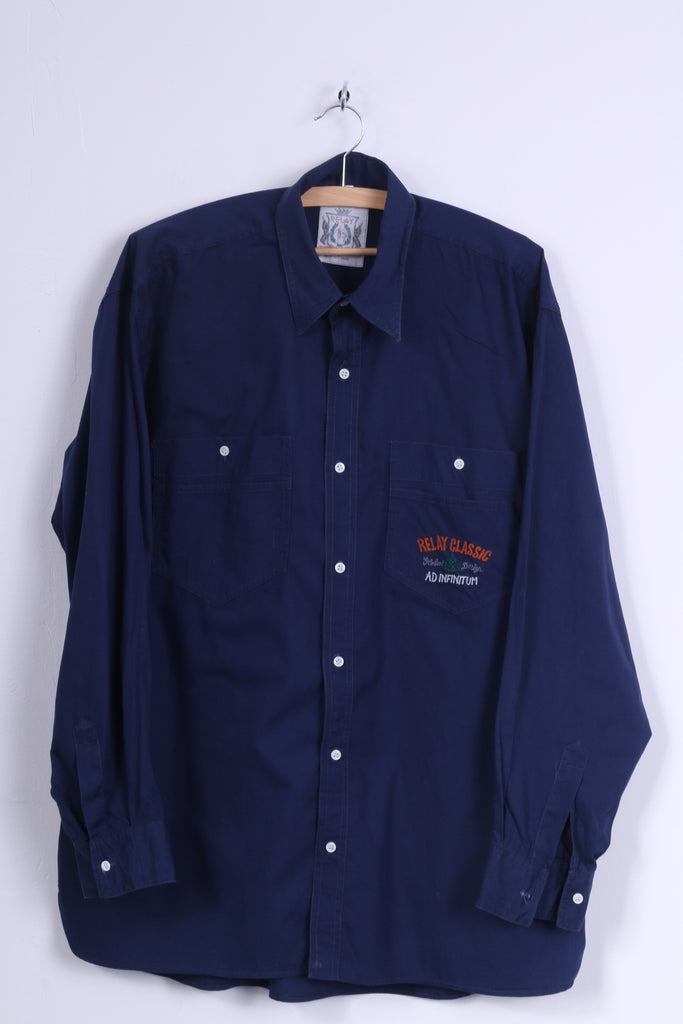 RELAY Mens 6 XL Casual Shirt Navy Long Sleeve Cotton