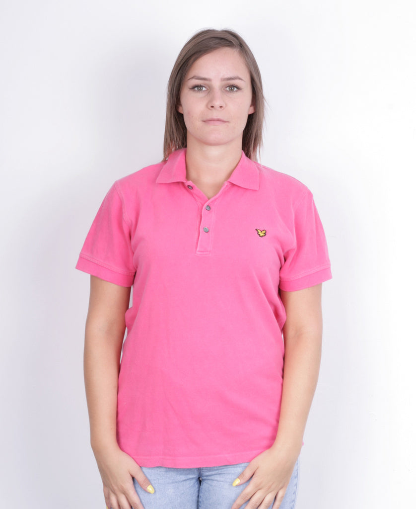 Lyle & Scott Women M Polo Shirt  Short Sleeve Cotton Pink Summer - RetrospectClothes