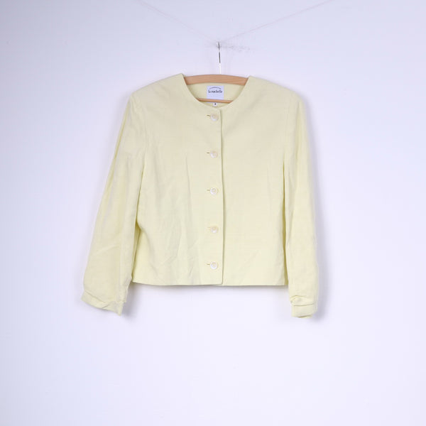 Compagnie La Rochelle Womens 36 S Blazer Yellow Single Breasted Shoulder Pads