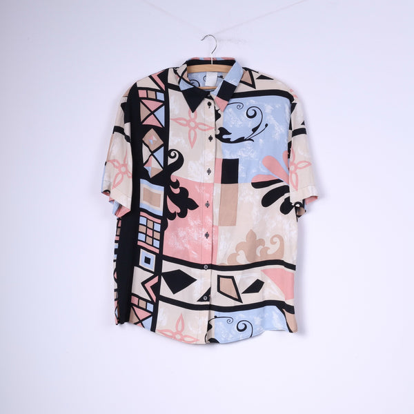Vintage Womens 44 2XL Casual Shirt Abstract Short Sleeve Shoulder Pads