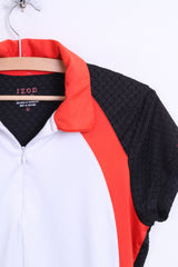 IZOD Mens M Shirt Zip Neck Cool White Black