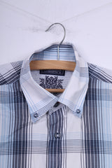 Claudio Campione Southampton Mens M Casual Shirt Blue Check Short Sleeve Cotton Button Down Collar