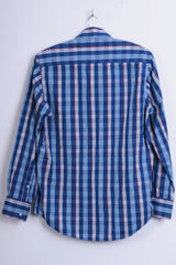 6th Sense Global Designs Womens M Casual Shirt Check Royal Blue Cotton - RetrospectClothes