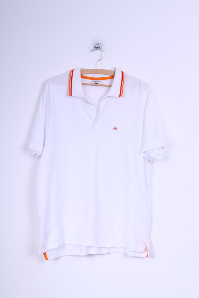 Ellesse Italia Mens XXL Polo Shirt White Cotton Short Sleeve