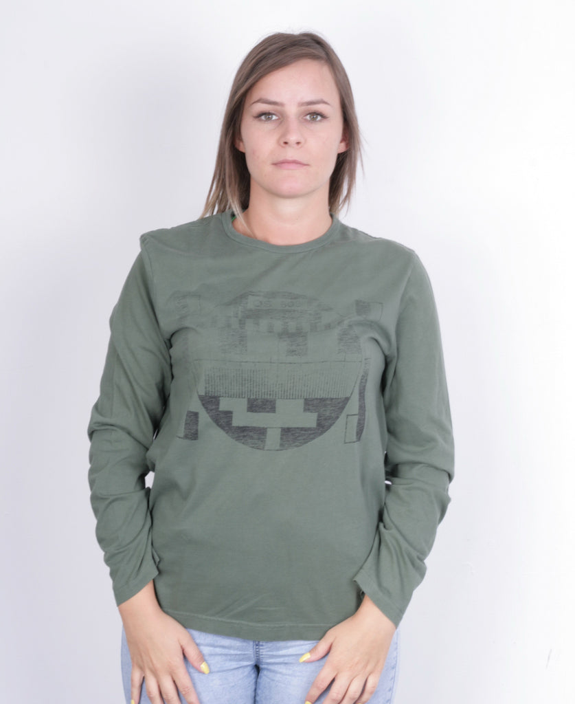 QS by s.Oliver Womens M Shirt Long Sleeve Cotton Green Crew Neck - RetrospectClothes