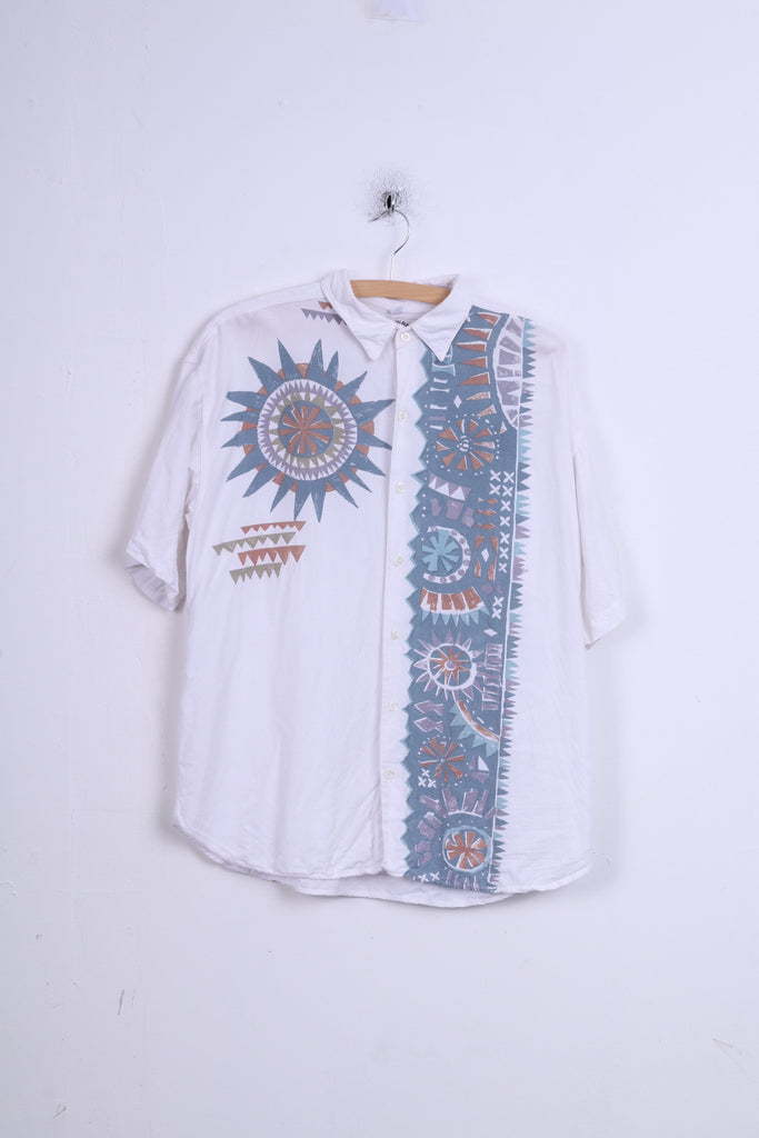 C&A Originals Mens L  Casual Shirt White Graphic Short Sleeve Fine Wear Summer