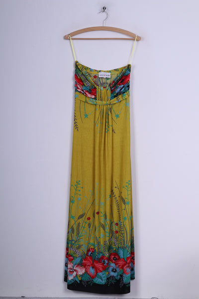 West & Webb Womens 12 Maxi Dress Strapless Bandeau Yellow Printed Summer