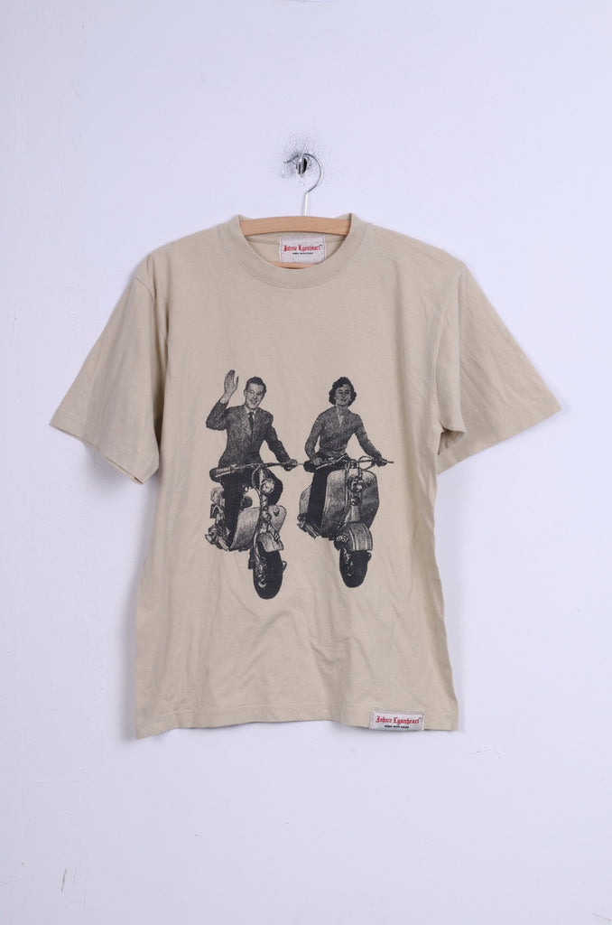 JOHNIE LYONHEART Mens S T-Shirt Cotton Beige Graphic Motor Top