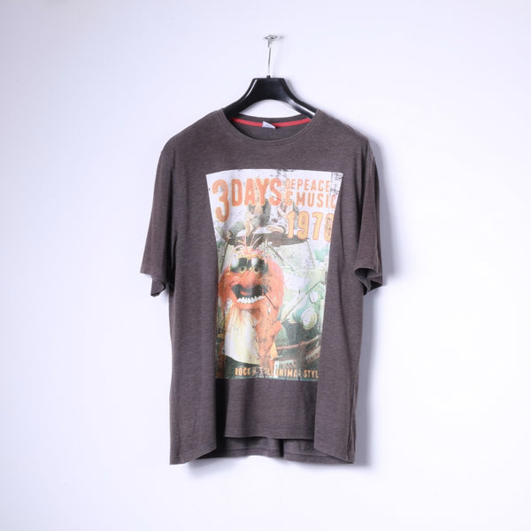 Disney At George Mens XL T-Shirt Brown Cotton Graphic Animal Style Top