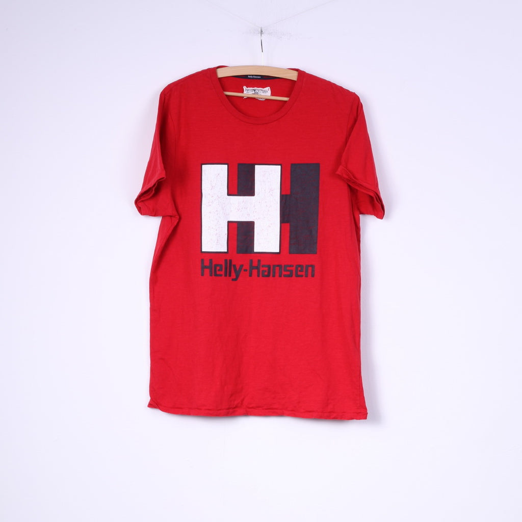 Helly Hansen Mens L T-Shirt Graphic Crew Neck Red Top Cotton Big Logo