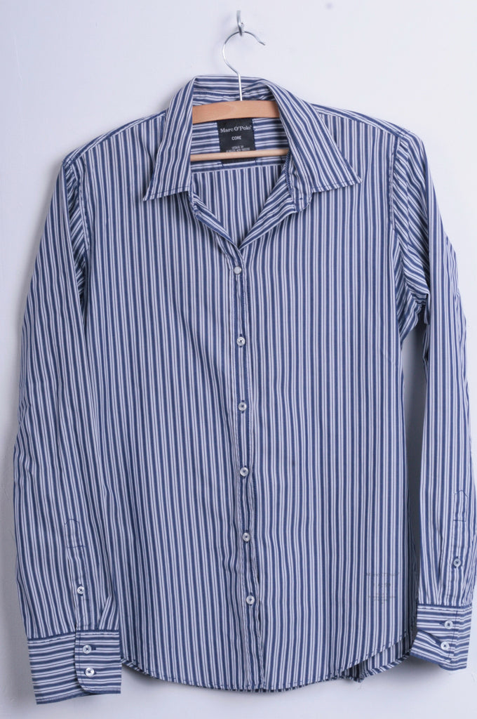 Marc O'Polo Womens 40 L Casual Shirt Striped Cold Blue Unique Cotton - RetrospectClothes